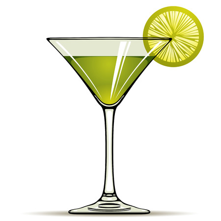 Green alcohol cocktail with green lime isolated on white, vector illustration. Vector