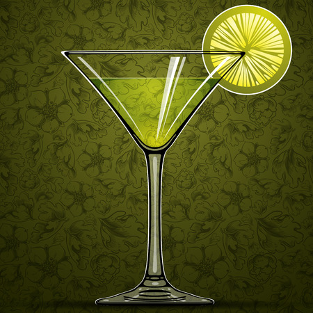 Cocktail with green lime and retro floral seamless pattern on background, vector illustration. Vector