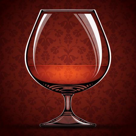 Glass of cognac over vintage background, vector illustration. Vector