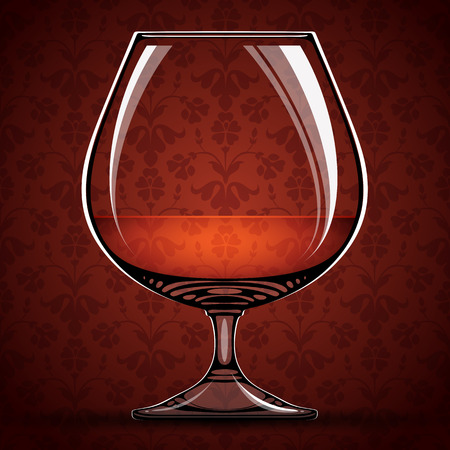 cognac: Glass of cognac over vintage background, vector illustration.