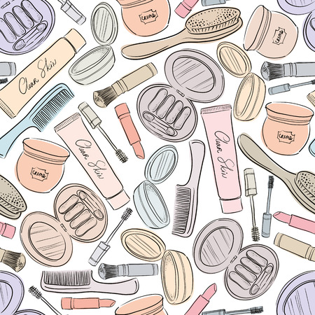 ceremonial makeup: Cosmetics seamless background, vector seamless pattern.