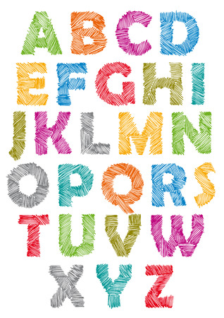 Hand drawn and sketched font, doodle childish style.