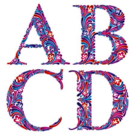 letter d: Floral alphabet, vintage letters a b c d.