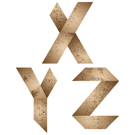 Origami style alphabet with rusty grunge texture, letters x, y, z. Vector