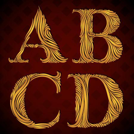 letter b: Vintage alphabet, floral letters a b c d. Illustration