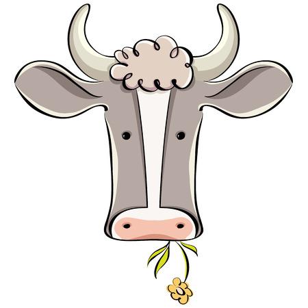 Koe hoofd vector cartoon stijl illustratie. Stock Illustratie
