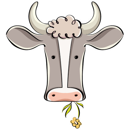 Cow head vector cartoon style illustration.
