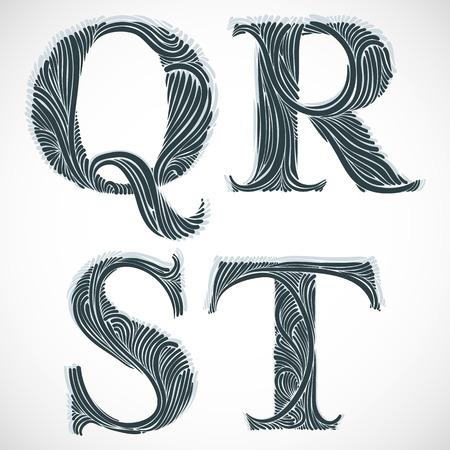 letter t: Vintage floral font, letters Q R S T.