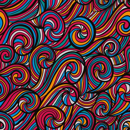 Funky colorful seamless pattern, vector background. Çizim