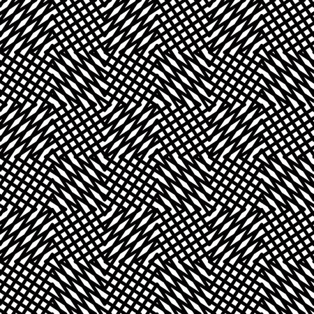 Black lines seamless pattern, netting, vector background. Vector