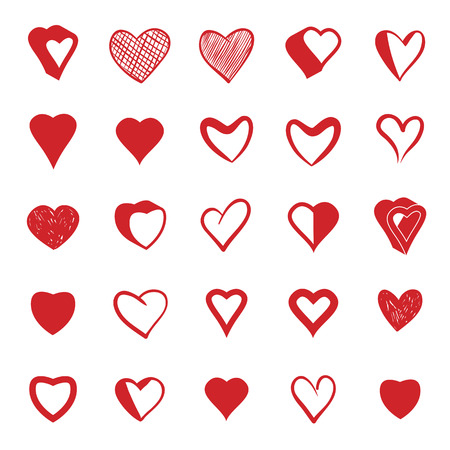 Set of 25 hearts icons, vector. Vector