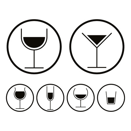 Alcohol glasses icons set, vector. Vector