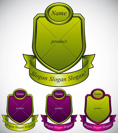 eco slogan: Vector conjunto de etiquetas retro con lugares para el nombre, producto y un lema de la compa��a.