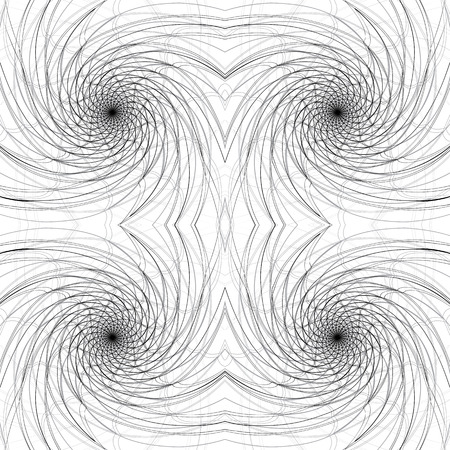 Swirly lines seamless pattern, monochrome vector background. Vector