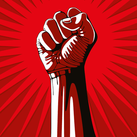 fist clenched: A clenched fist held high in protest, vector illustration.