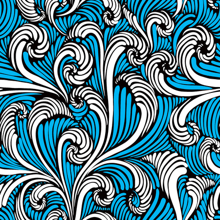 Vintage style floral seamless pattern in blue and white colors, vector background. Vector