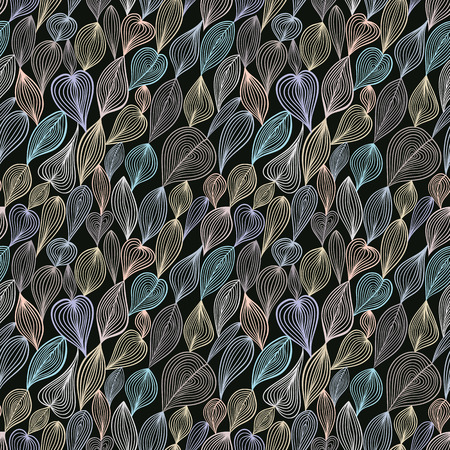 Dark floral seamless pattern, vector background. Vector