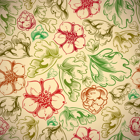 secession: Vintage style seamless background with flowers and leaves, perfect vector wallpaper or web background pattern.