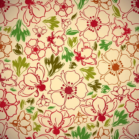 Vintage style seamless background with flowers and leaves, perfect vector wallpaper or web background pattern.