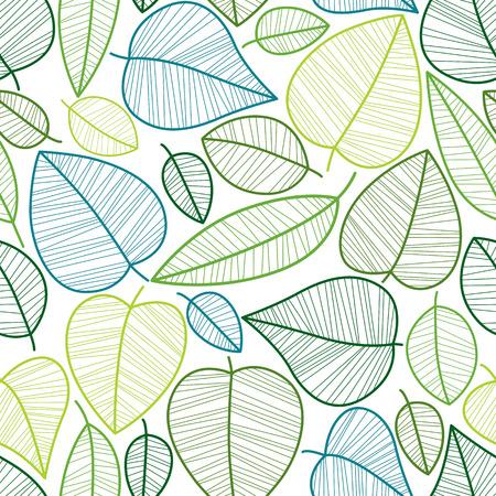 Seamless leaves pattern, vector background. Illustration