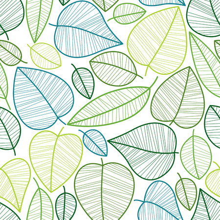 Seamless leaves pattern, vector background. Иллюстрация
