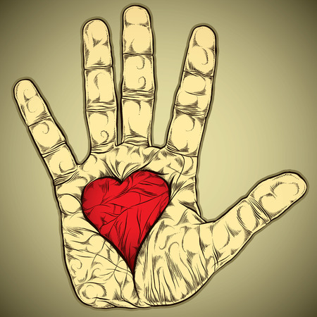 Hand with heart vector illustration.