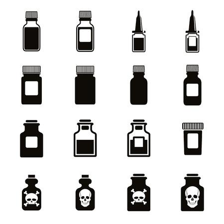 veneno frasco: Botellas de medicina conjunto icono, vectoriales.