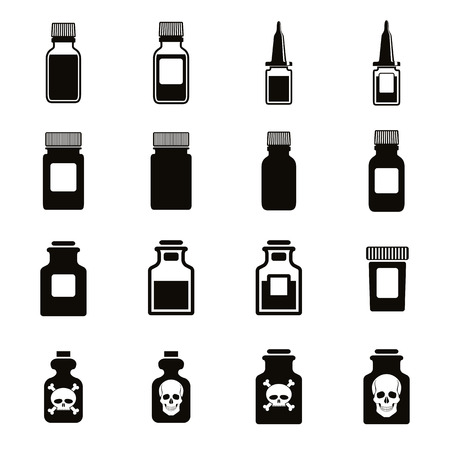 poison bottle: Medical bottles icon set, vector. Illustration