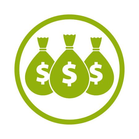 gain money: icône de l'argent avec trois sacs, vecteur. Illustration