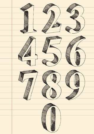 Hand drawn 3d numbers vector set, pen and ink drawing traced. Vector