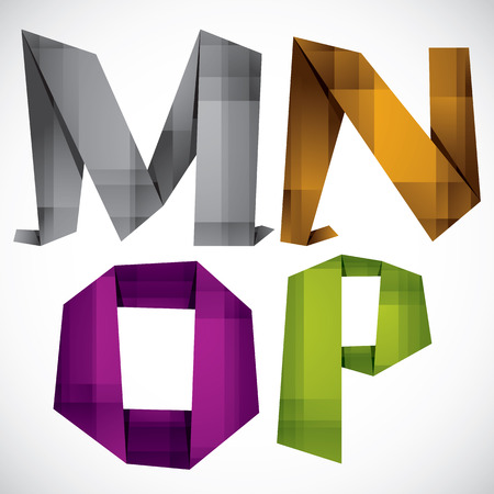 letter p: Origami style font, colorful vector letters M N O P.