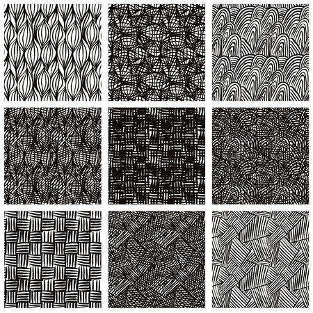 Hand drawn sketchy seamless patterns set, vector backgrounds collection. Vector