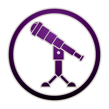 observatory: Telescope astronomy science icon, vector. Illustration