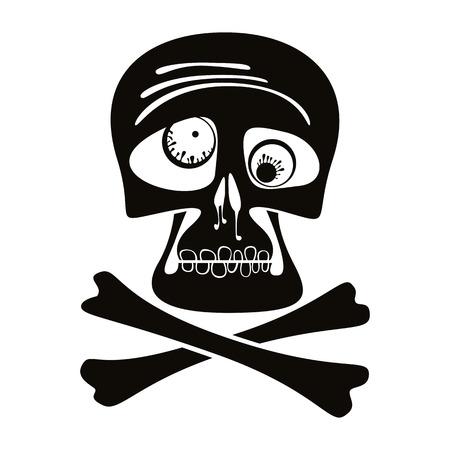 frightful: Skull and crossbones, vector illustration.