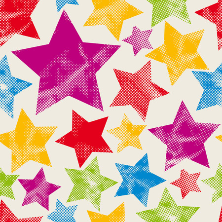 Colorful stars seamless pattern with pixel texture, vector background.