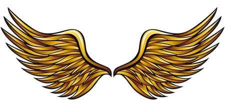 Golden wings made in classic heraldic style, vector illustration.