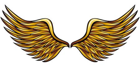 cisnes: Alas de oro realizadas en estilo clásico heráldico, ilustración vectorial.