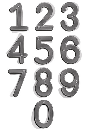 number 9: Cloth style numbers with seams and buttons, vector set.