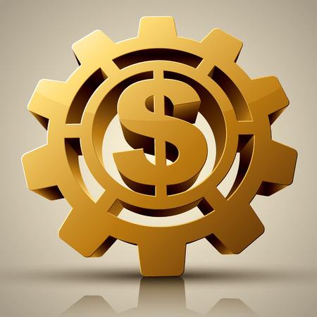 millones: Concepto de negocio - Rotaci�n Marca de d�lar del oro. Vectores