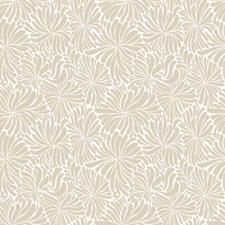 Seamless flowers pattern, hand drawn doddle line art vector background.