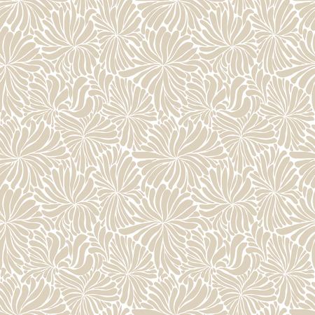Seamless flowers pattern, hand drawn doddle line art vector background. 免版税图像 - 32660591