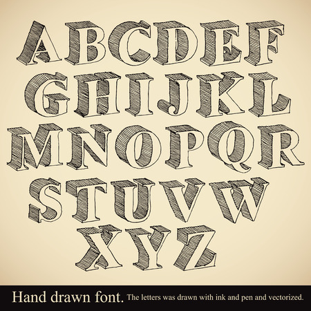 Hand drawn 3d font, vector alphabet vintage style.
