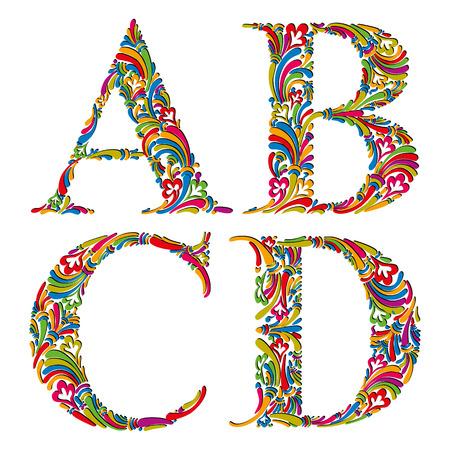 Floral alphabet, vintage letters a b c d.