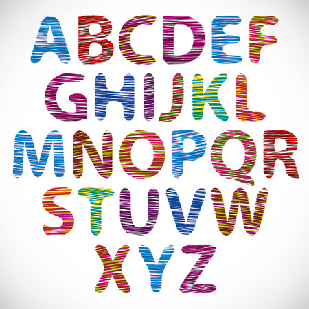 Hand drawn and sketched font, doodle style. Vector