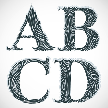 Vintage floral font, letters A B C D. Illustration