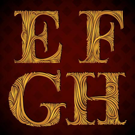 letter e: Vintage alphabet, floral letters e f g h