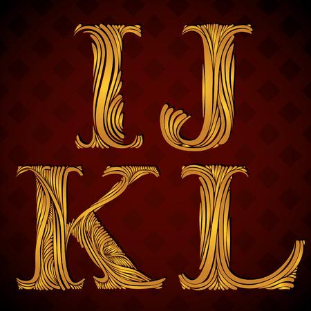 Vintage alphabet, floral letters i j k l. Vector