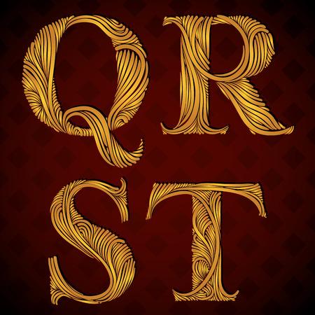 letter q: Vintage alphabet, floral letters q r s t. Illustration