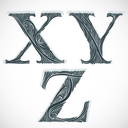 Vintage floral font, letters X Y Z.
