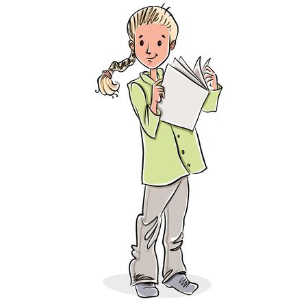 Cute little girl reading magazine, vector illustration. Vector